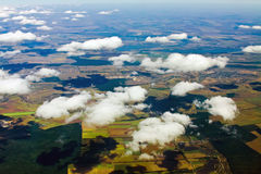 Aerial view of a green rural area. Under cloudy sky Stock Photography