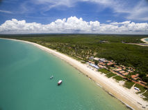 Aerial view Green sea at a brazilian beach coast on a sunny day in Corumbau, Bahia, Brazil. february, 2017. Aerial view Green sea at a brazilian beach coast on stock image