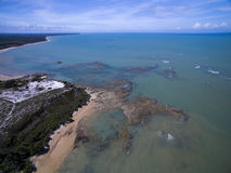 Aerial view Green sea at a brazilian beach coast on a sunny day stock image