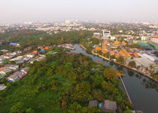 The aerial view of the green spaces and canals of Bangkok` suburbs. Thailand Royalty Free Stock Photos