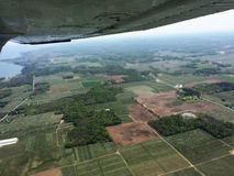 Aerial View of Green Trees and Fields Stock Photos