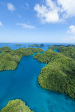 Aerial view of green tropical rock islands in the Pacific, Palau, Micronesia Royalty Free Stock Images