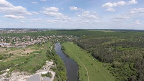 Aerial view of the green valley and river stock video