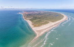 Aerial view of Greenen Denmark,. Where the to seas meet ,Baltic sea and North sea.Greenen is the northern most top of Denmark,and here the lands end Stock Image