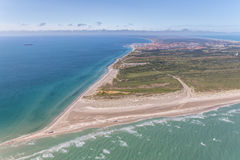 Aerial view of Greenen Denmark,. Where the to seas meet ,Baltic sea and North sea.Greenen is the northern most top of Denmark,and here the lands end Stock Images
