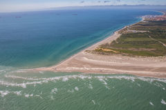 Aerial view of Greenen Denmark,. Where the to seas meet Baltic sea and North sea.Greenen is the northern most top of Denmark,and here the lands end Royalty Free Stock Photography