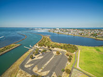Aerial view of Greenwich Bay and Williamstown Suburb at high noo Stock Image