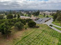 Aerial view of Greenwood Memorial Park & Mortuary. Memorial statue, funeral, cemetery, cremation in San Diego, California, USA royalty free stock images