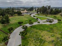 Aerial view of Greenwood Memorial Park & Mortuary. Memorial statue, funeral, cemetery, cremation in San Diego, California, USA stock photos