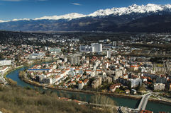 Grenoble FRANCE. Aerial view of Grenoble from the Bastille Royalty Free Stock Photos