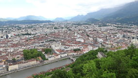 Aerial view of Grenoble city, France stock video