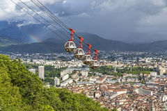 Aerial view of Grenoble city, France. Picturesque aerial view of Grenoble city, France Stock Photo