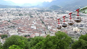 Aerial view of Grenoble city, France stock footage