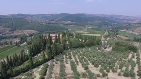 Aerial view of Greve in Chianti Tuscany valley Italy. In summer stock video footage