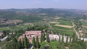 Aerial view of Greve in Chianti Tuscany valley Italy in summer stock video footage