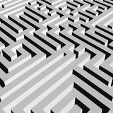 Aerial view of grey 3D maze labyrinth. Vector illustration Stock Photos
