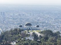 Aerial view of Griffith Observatory and Los Angeles downtown Royalty Free Stock Photos