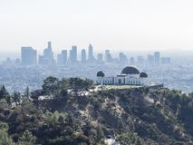 Aerial view of Griffith Observatory and Los Angeles downtown Royalty Free Stock Photo