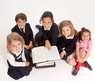 Aerial view of a group Schoolchildren Royalty Free Stock Image