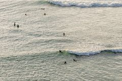 group of surfing under evening sunlight stock photos