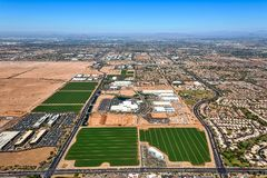 Growing Technology growth from above. Aerial view of the growth in Chandler, Arizona of the technology and related industries Royalty Free Stock Images