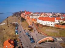 Beautiful architecture of Grudziadz at Wisla river. Aerial view of Grudziadz old town at Wisla river, Poland Stock Image