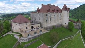 Aerial View on Gruyeres castle in Canton of Fribourg, Switzerland stock video