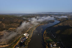 Aerial view of the Guadiana river. With clouds Stock Images