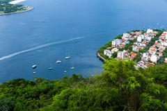 Aerial view of Guanabara bay in Rio de Janeiro, Brazil Royalty Free Stock Images