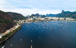 Aerial view of Guanabara Bay in Rio de Janeiro, Brazil Stock Images