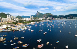 Aerial view of Guanabara Bay in Rio de Janeiro, Brazil Royalty Free Stock Photography