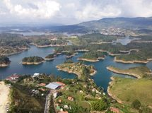 Aerial view of the Guatape dam lakes, Colombia. Ecotourism destination. Aerial view of the lakes of the Guatape dam, Antioquia, Colombia. Bodies of water formed stock images