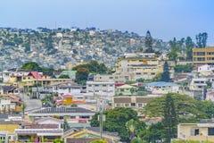 Aerial View Guayaquil, Ecuador. Elegant neighborhood and favela hill view of Guayaquil city, Ecuador stock images