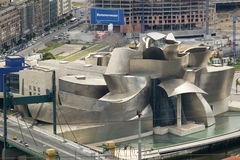 Aerial view of the Guggenheim Museum of Contemporary Art of Bilbao (Bilbo) located on the North Coast of Spain in the Basque regio Royalty Free Stock Images
