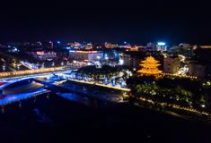 Aerial view of Guilin at night, China travel spot. Aerial view of Guilin city at night, Chinese travel spot stock image