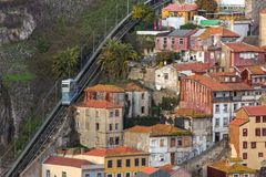 Aerial view of Guindais Funicular Funicular dos Guindais in the old town of Porto royalty free stock image