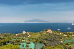Aerial view of Gulf of Naples and Mount Vesuvius. Sorrento. Italy royalty free stock photo