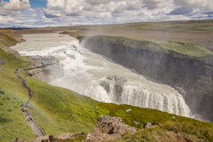 Aerial view on Gullfoss waterfall - Iceland. Royalty Free Stock Photos