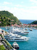 Aerial view at Gustavia Harbor with mega yachts at St Barts. ST BARTS, FRENCH WEST INDIES - JANUARY 16:Aerial view at Gustavia Harbor with mega yachts on January stock photos