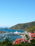 Aerial view at Gustavia Harbor with mega yachts at St Barts Royalty Free Stock Image