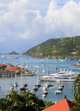 Aerial view at Gustavia Harbor with mega yachts at St Barts, French West Indies Stock Photos