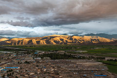 Aerial view of Gyantse county, Tibet, China Royalty Free Stock Photos