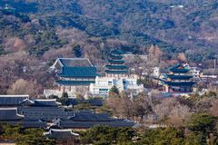 Aerial view of Gyeongbok palace and the Blue House in Seoul city, Korea. Aerial view of Gyeongbok palace and the Blue House in Seoul city, South Korea Stock Image