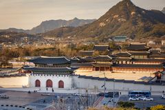 Aerial view of Gyeongbok palace and the Blue House in Seoul city, Korea. Aerial view of Gyeongbok palace and the Blue House in Seoul city, South Korea Stock Photos