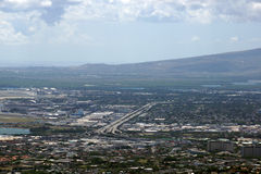 Aerial view of H-1 Highway as it passes by the airport heading t Royalty Free Stock Photos