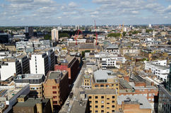 Aerial view of Hackney, London. View from a tall building looking north across the London Borough of Hackney with the hipster areas of  Shoreditch and Hoxton in Stock Image