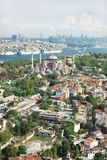 Aerial view of Hagia Sofia istanbul turkey. Cruise ships in the background and silhouette of istanbul royalty free stock photos