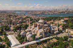 Aerial view of Hagia Sophia. In Istanbul royalty free stock photo