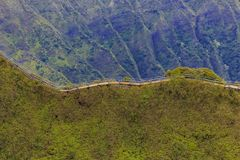 Aerial view of Haiku Stairs or Stairway to Heaven in Honolulu Ha. Aerial view Haiku Stairs, also known as the Stairway to Heaven in Honolulu in Hawaii from a Stock Images