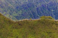 Aerial view of Haiku Stairs or Stairway to Heaven in Honolulu Ha Stock Images